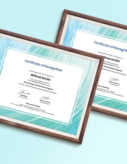 Sample Creative Painting Award Certificate