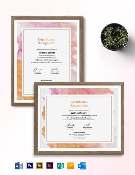 Modern Painting Award Certificate Template
