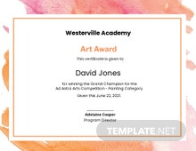 Modern Painting Award Certificate Template