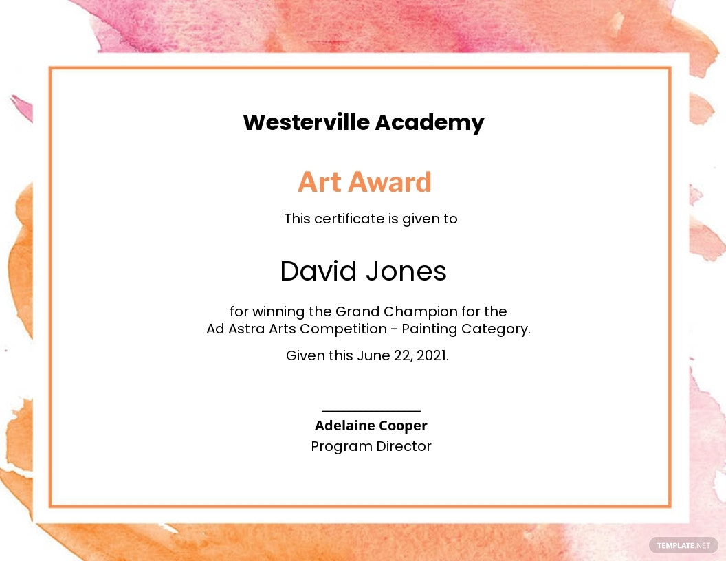 Modern Painting Award Certificate Template.jpe