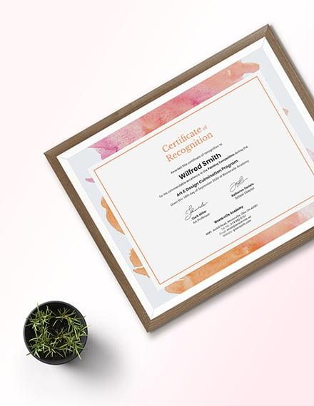 Sample Modern Painting Award Certificate