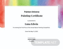 Painting Award Certificate Template