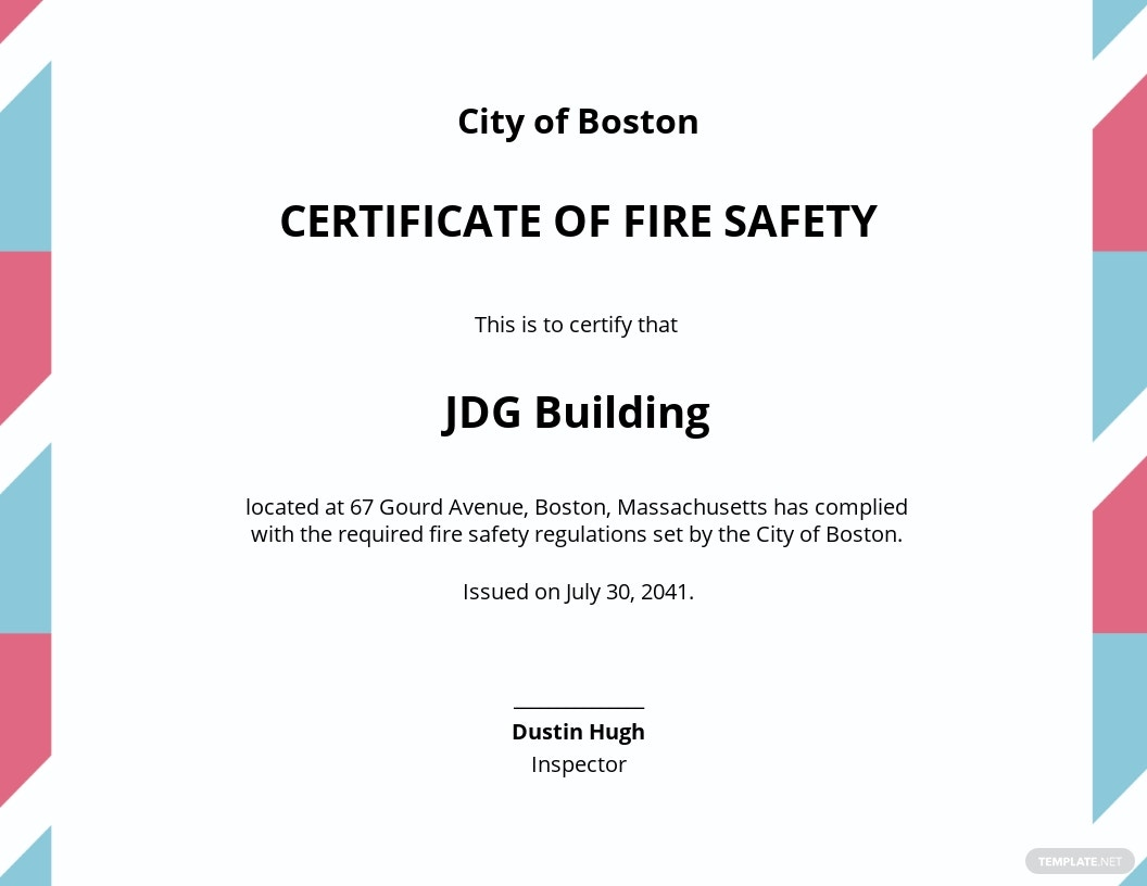 Final Fire Safety Certificate Template