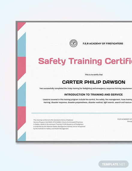 Sample Final Fire Safety Certificate
