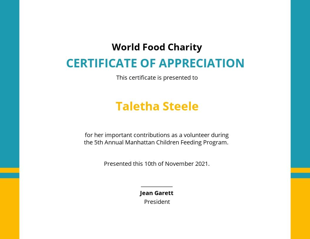 Volunteer Appreciation Certificate Template