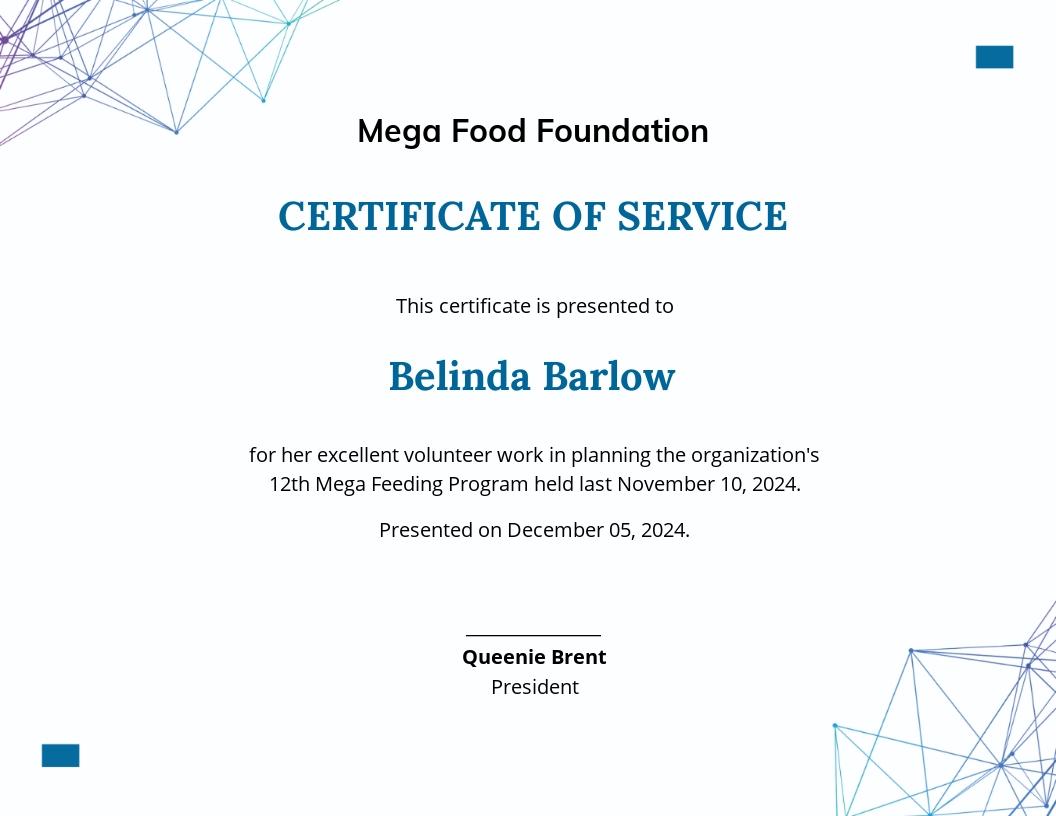 Volunteer Service Certificate Template
