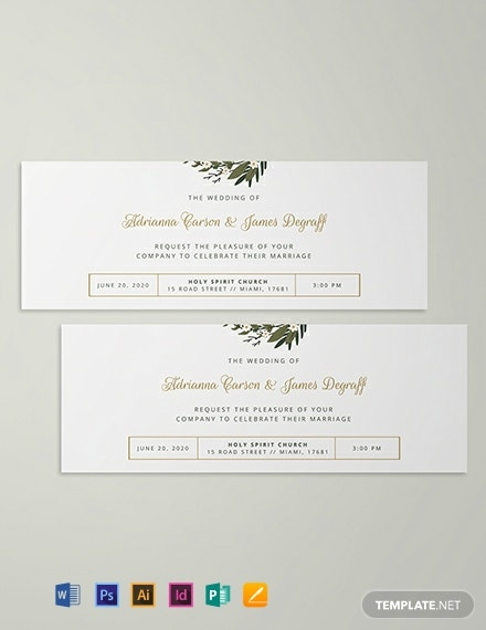 Wedding Invitation Ticket Template