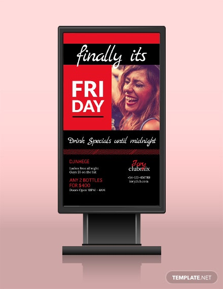 Free After Work Parties Digital Signage Template
