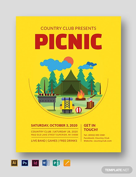 picnic flyer template in adobe photoshop illustrator indesign