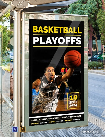 Free Basketball Playoffs Digital Signage Template