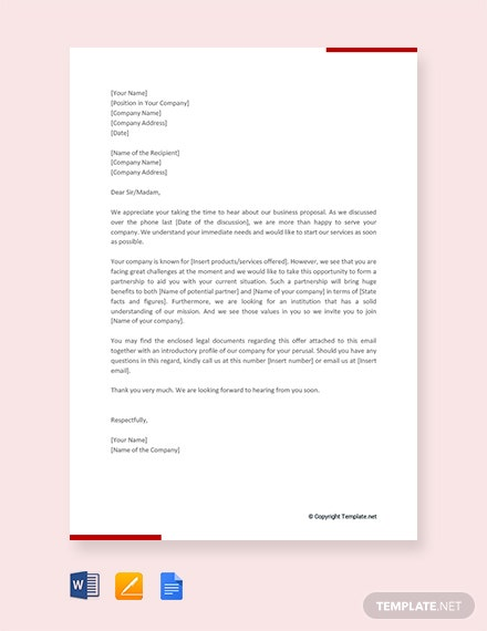 Free Business Proposal Letter for Partnership