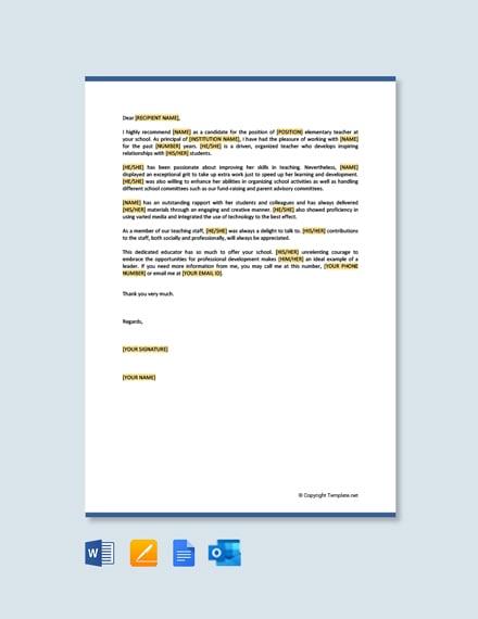 Free Letter of Recommendation for Elementary Teacher