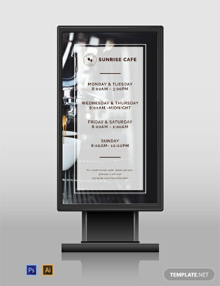 free business hours digital signage template