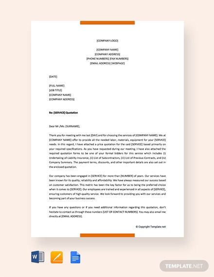 Free Quotation Letter