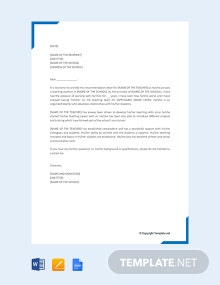 Free Recommendation Letter for a Teacher
