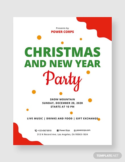 christmas   new year party flyer template 1x 1
