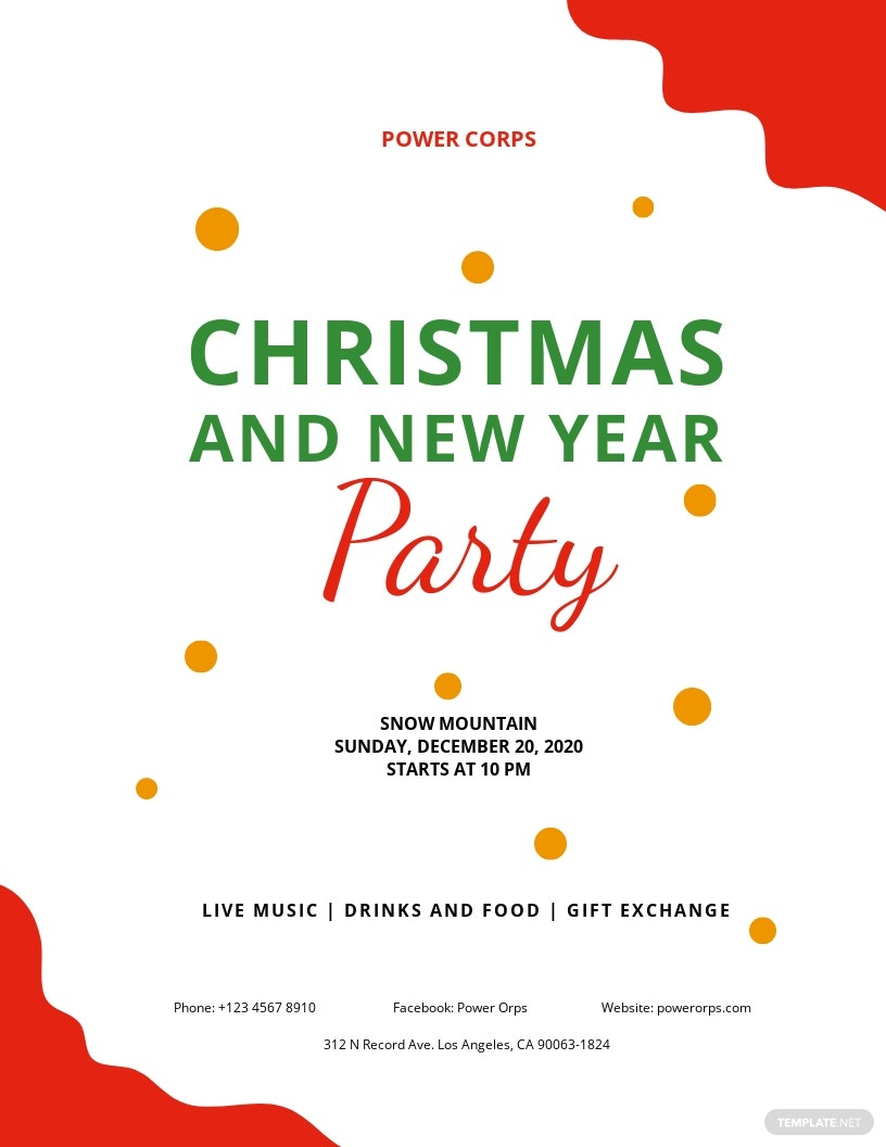 Free Christmas & New Year Party Flyer Template