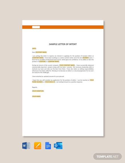 Free Sample Letter of Intent