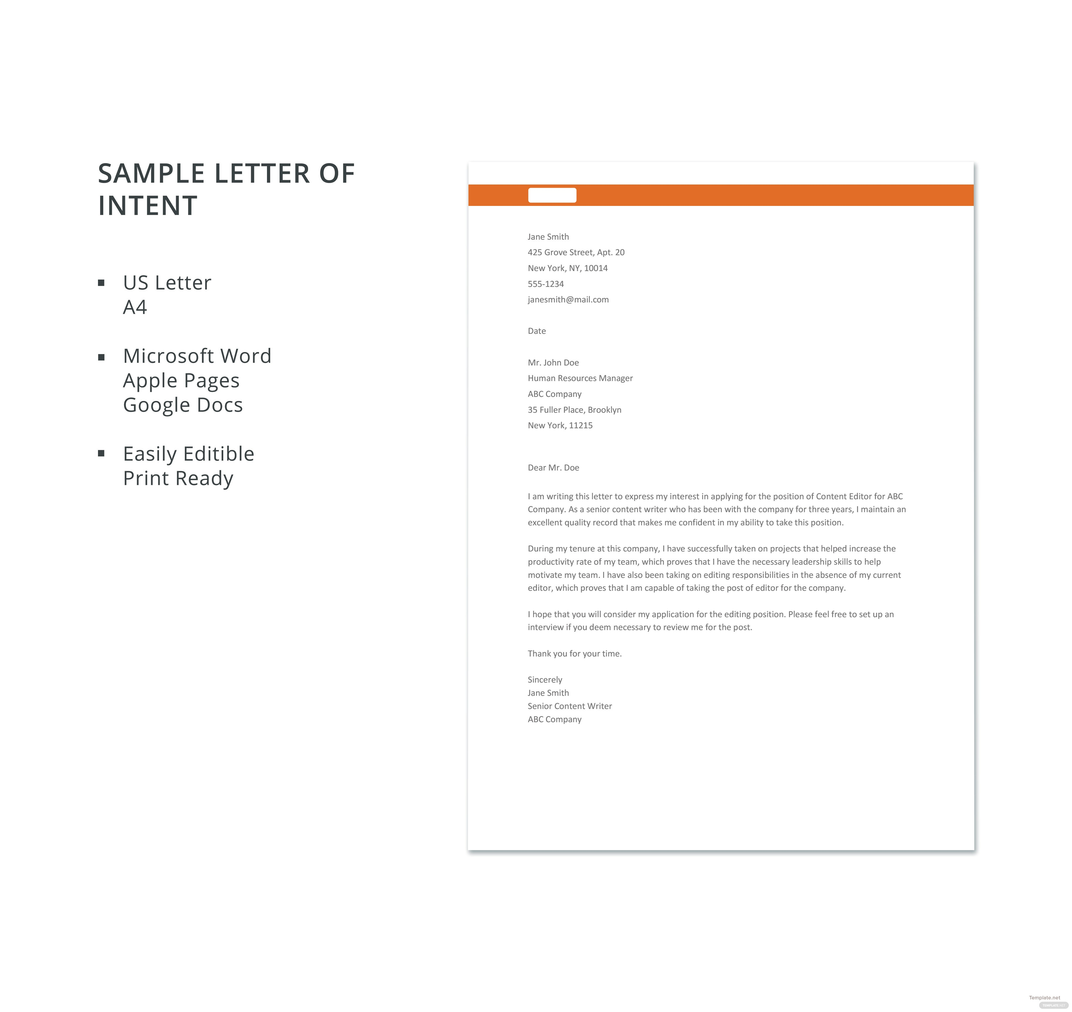 Sample letter of intent in microsoft word apple pages google docs click on image to expand reduce sample letter of intent spiritdancerdesigns Choice Image