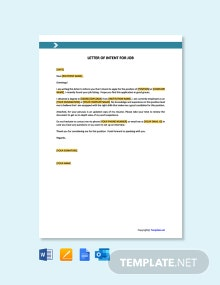 Free Letter Template of Intent for Job