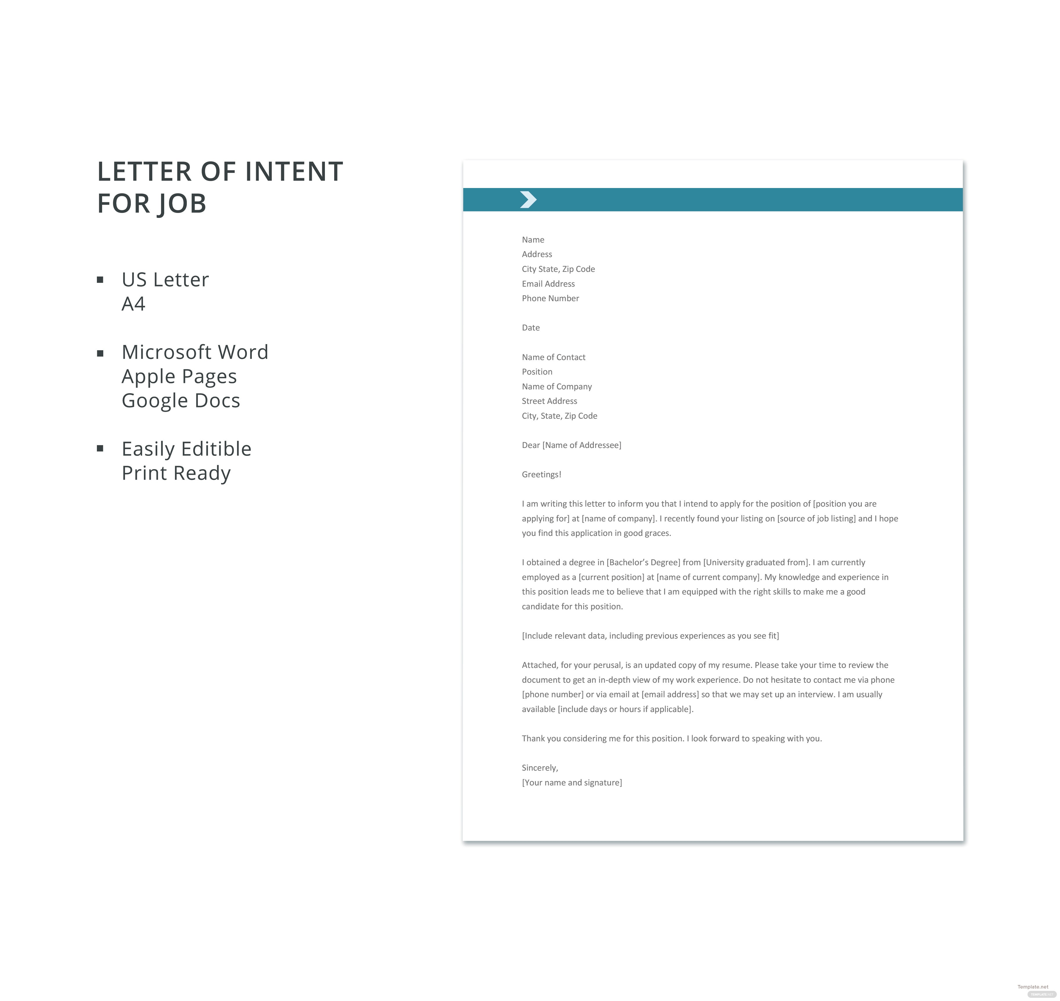 Free letter template of intent for job in microsoft word apple letter template of intent for job spiritdancerdesigns Images