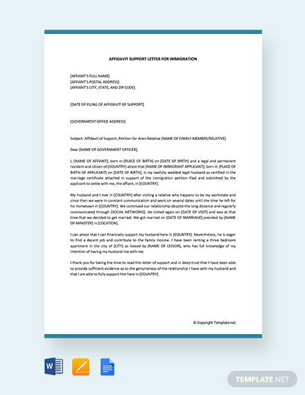 free affidavit of support letter for immigration template