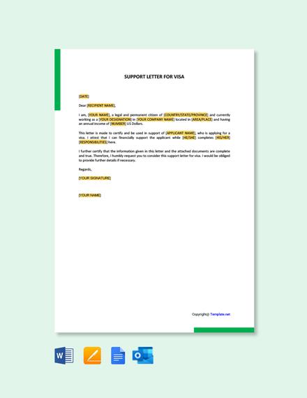 Free Affidavit of Support Letter for Visa
