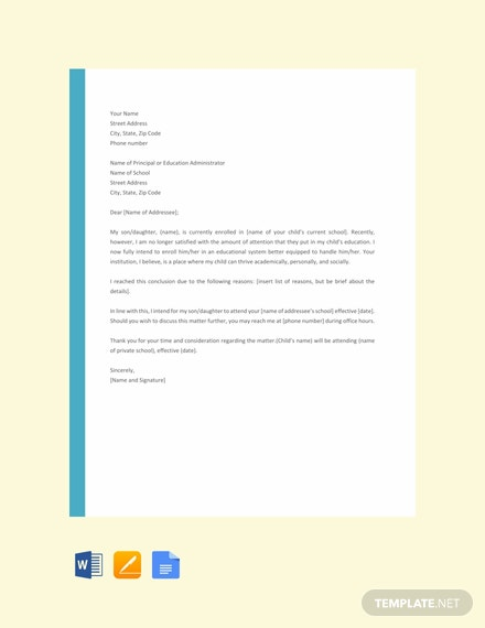 Free Letter Template of Intent for School