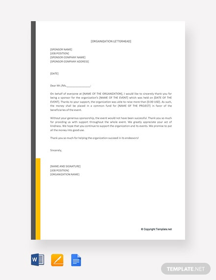 free sponsor thank you letter template  download 2538