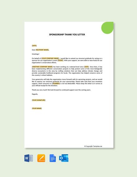 Free Sponsorship Thank You Letter
