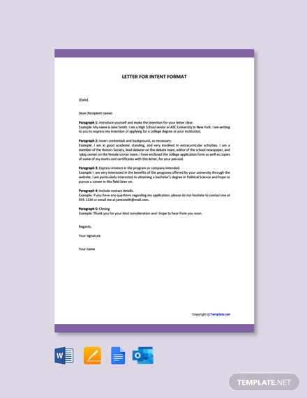Letter of Intent Format Template