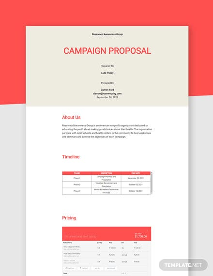 Editable Campaign Proposal Template