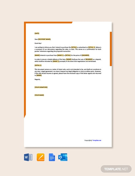 Free Letter Template of Intent for Purchase