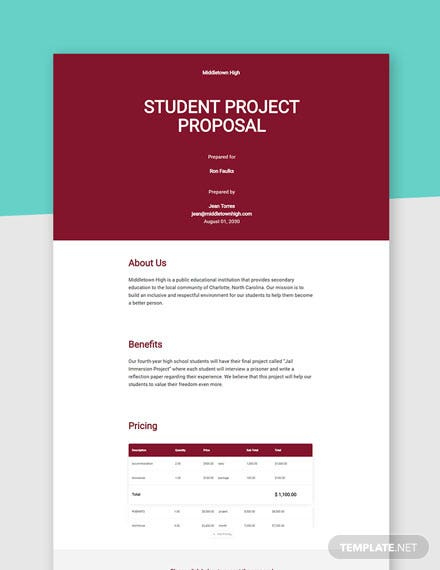 Editable Student Project Proposal Template