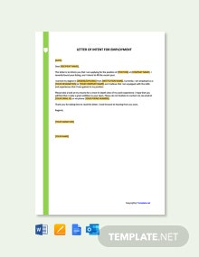 Free Letter Template of Intent for Employment