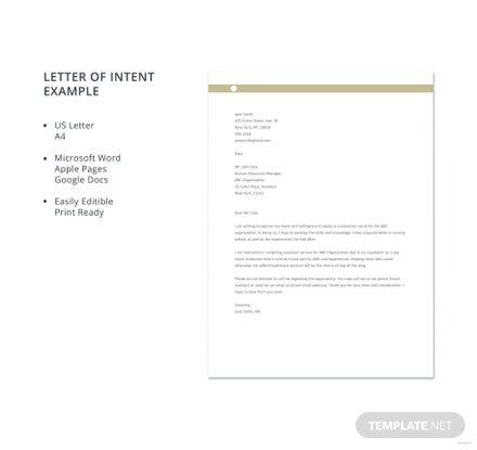 Free Letter of Intent Example