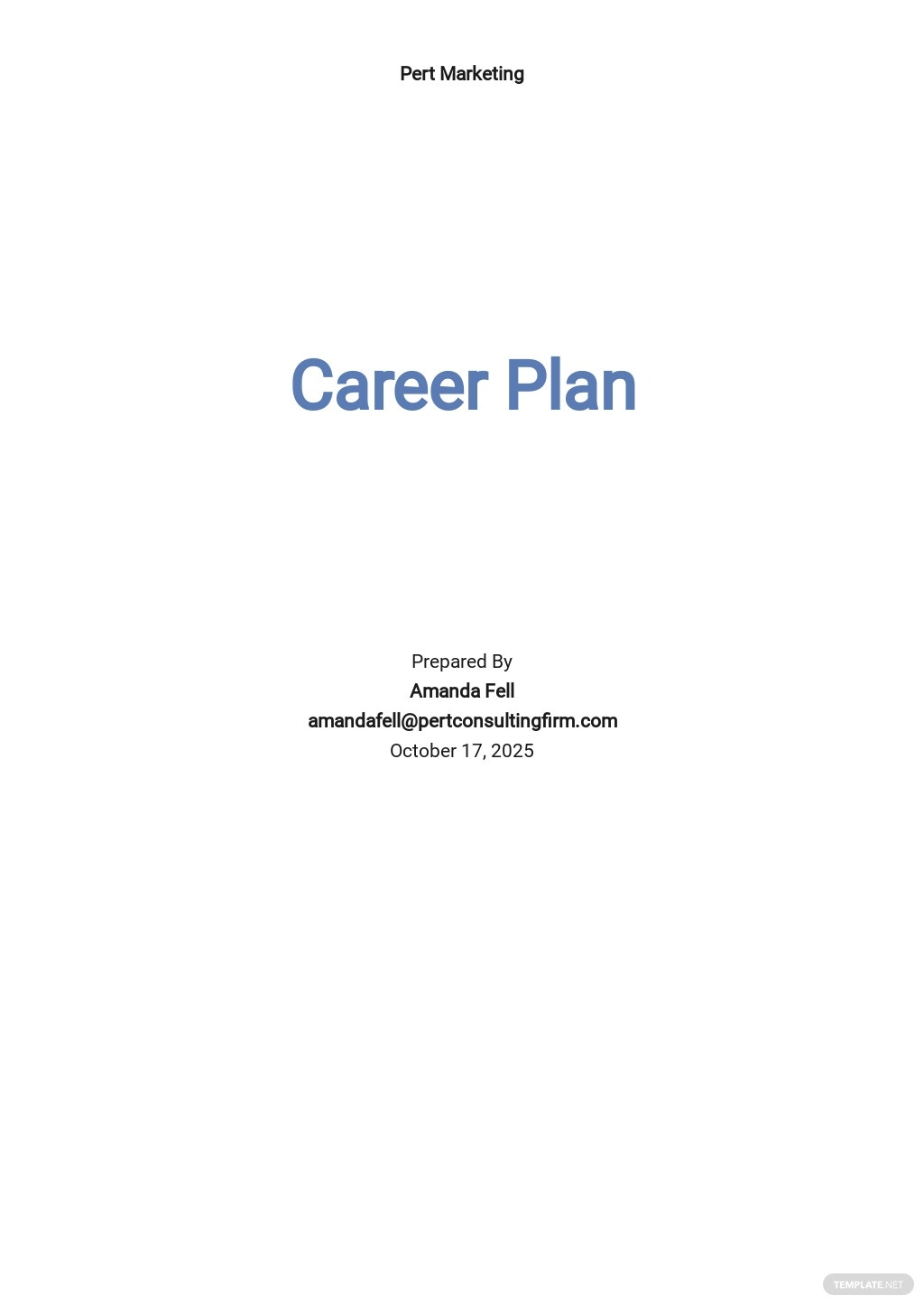Career Plan Template