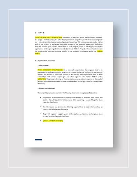 Nonprofit Business Plan Download