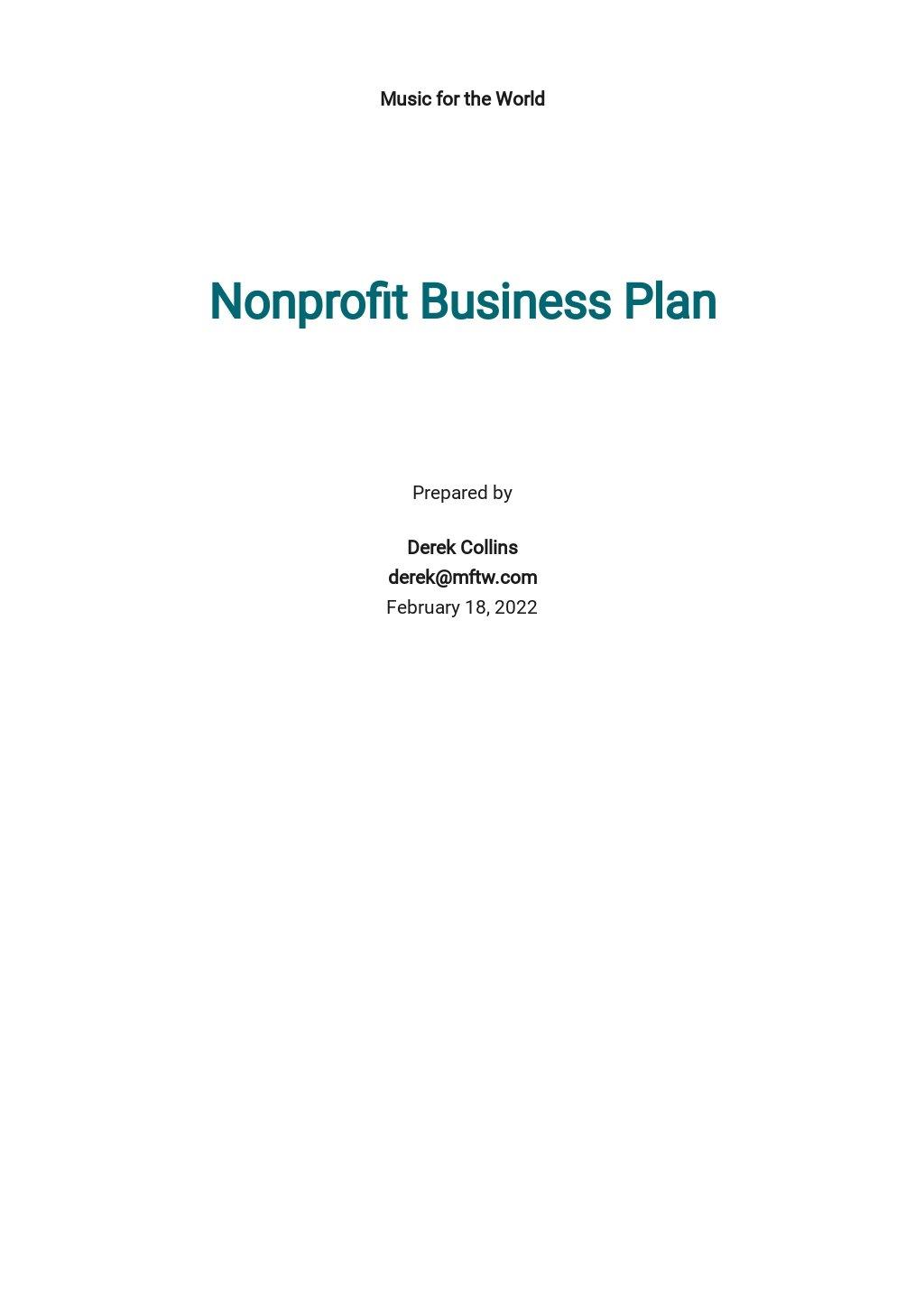 Nonprofit Business Plan Template