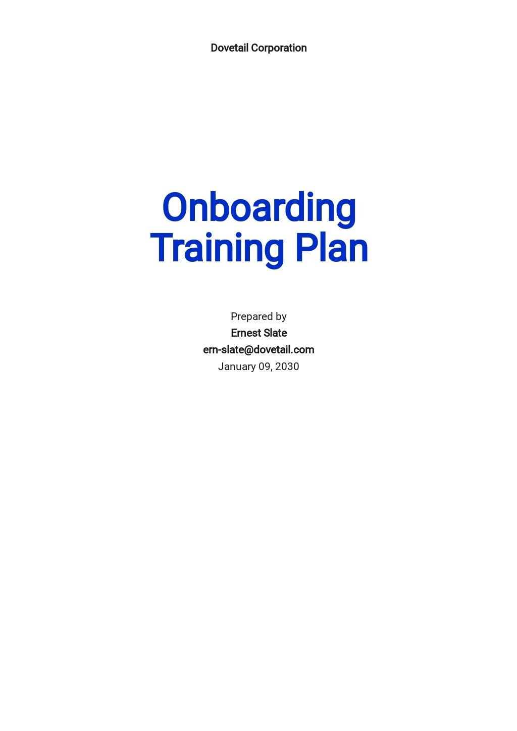 Onboarding Plan Template