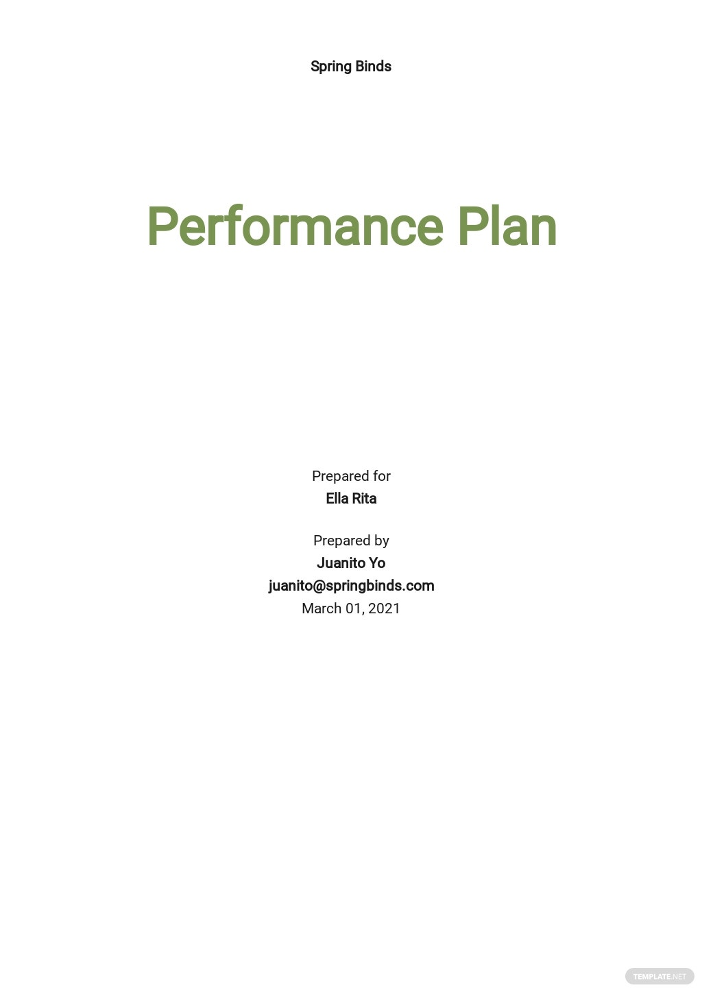 Performance Plan Template
