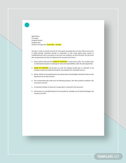 sales compensation plan template