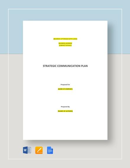 Strategic Communications Plan Template