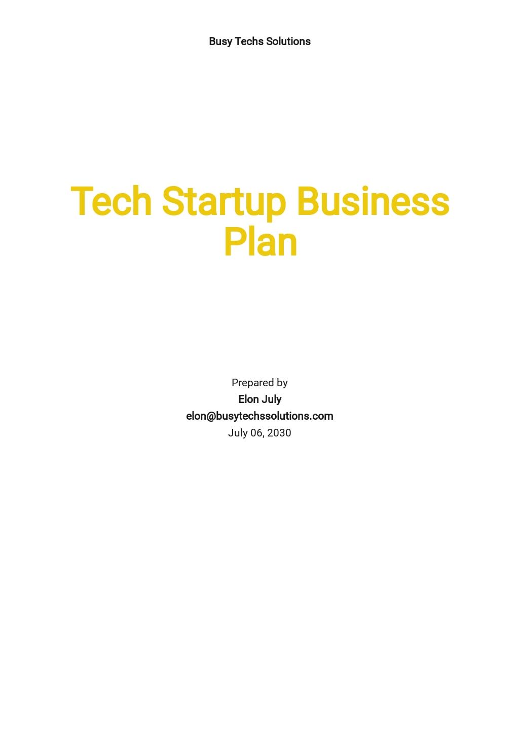 Tech Startup Business Plan Template