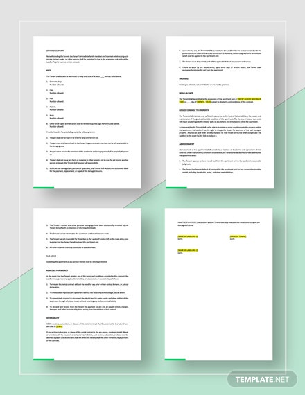 Sample Apartment Rental Contract