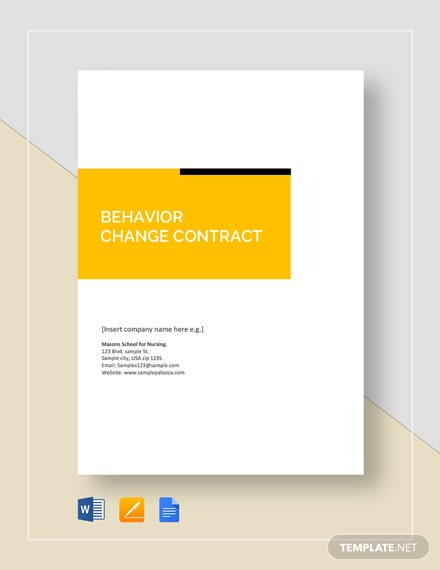 Behavior Change Contract Template