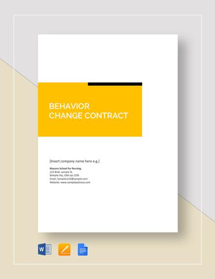 Behavior Change Contract Template