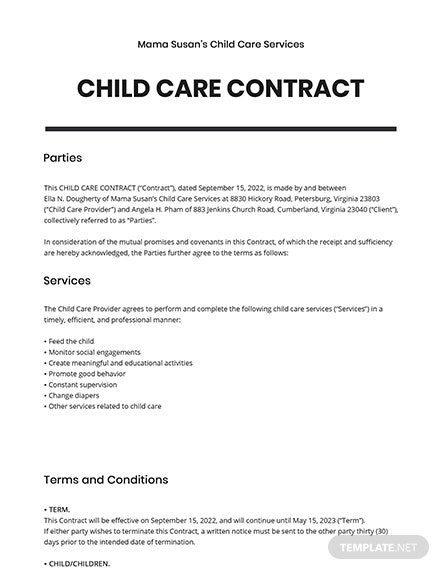Child Care Contract