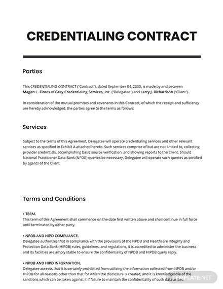 Credentialing Contract Template