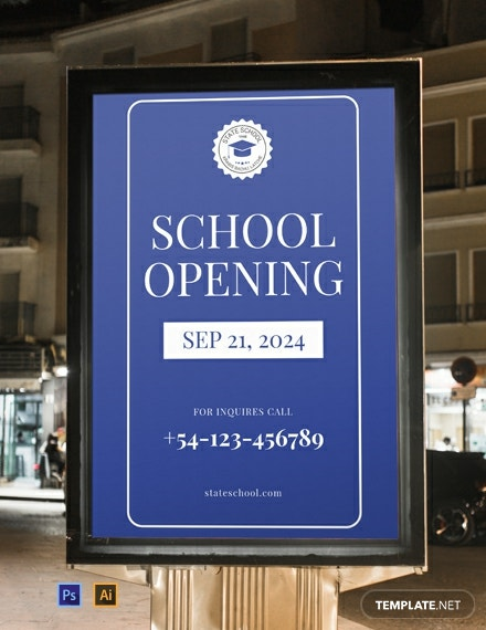 Free School Opening Digital Signage Template